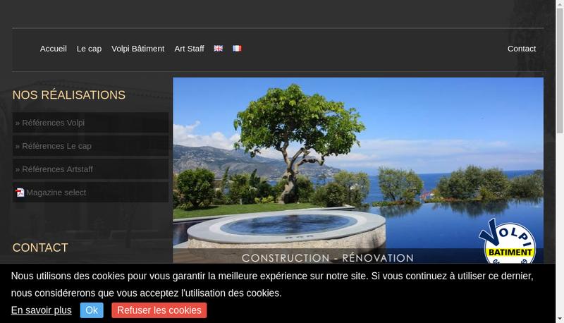 Capture d'écran du site de Volpi Batiment