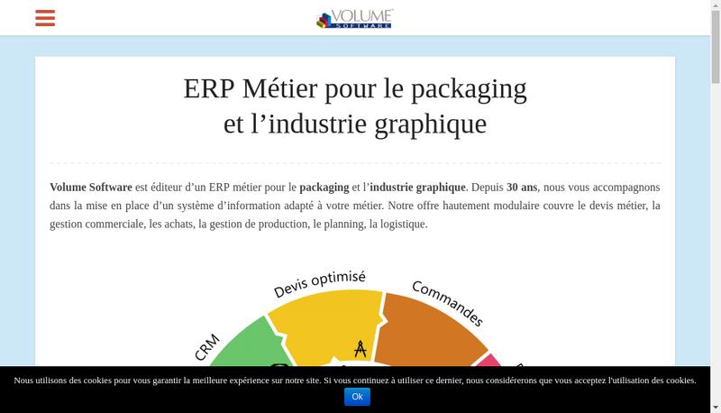 Capture d'écran du site de Volume Software