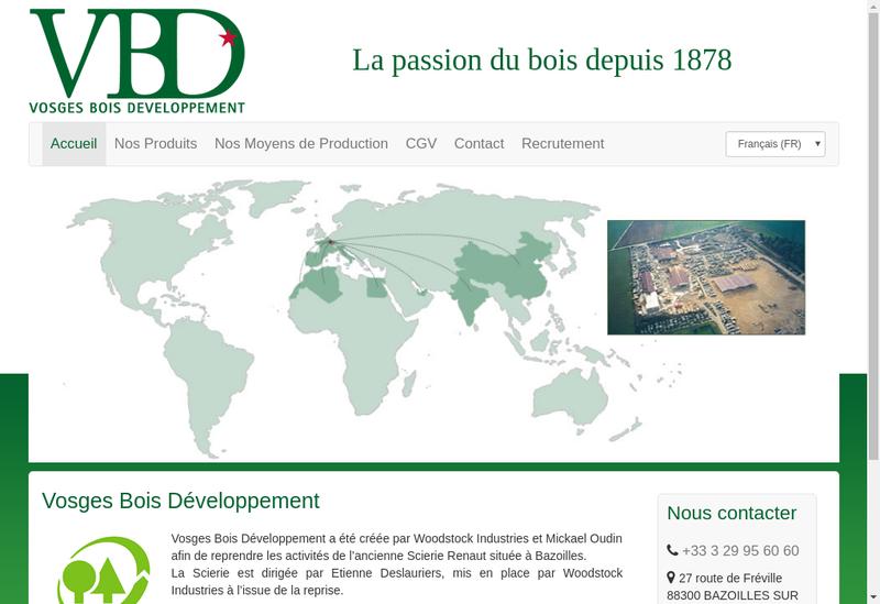 Capture d'écran du site de Vosges Bois Developpement
