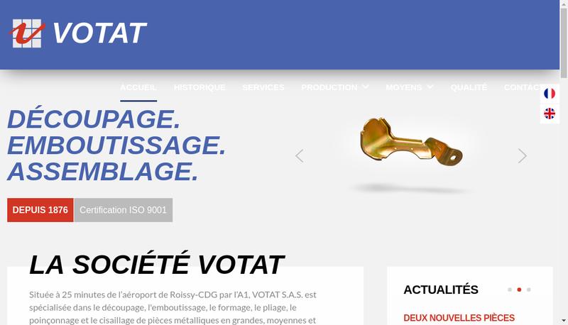 Capture d'écran du site de Votat