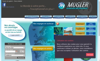 Site internet de Voyages Mugler-Ringenbach SA