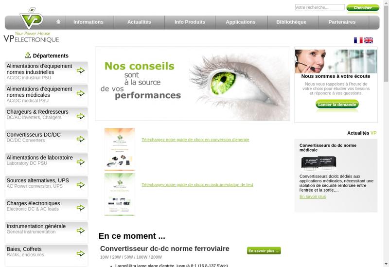 Capture d'écran du site de VP Electronique