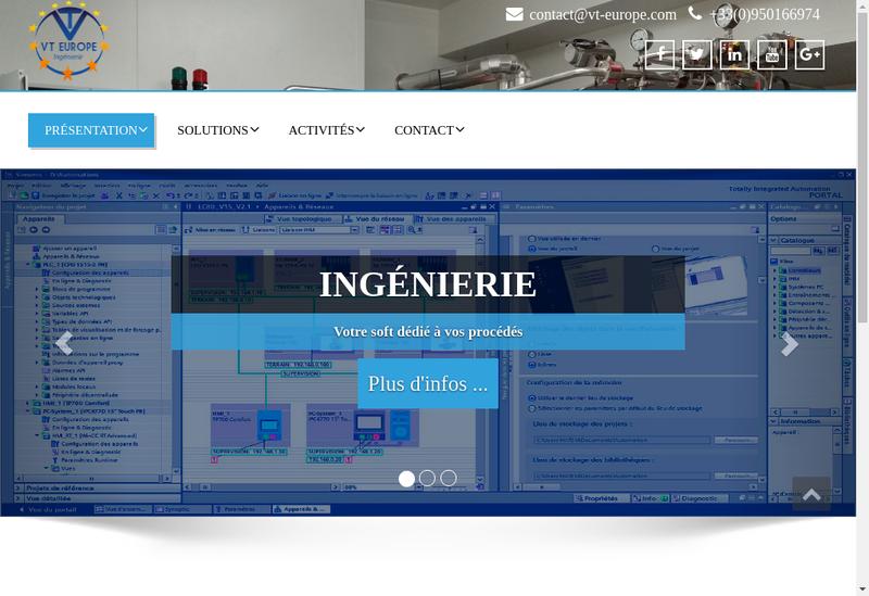 Capture d'écran du site de Vt Europe