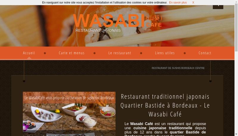 Capture d'écran du site de Wasabi Cafe
