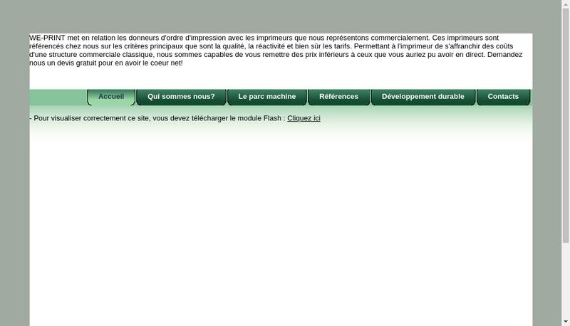 Capture d'écran du site de We Print