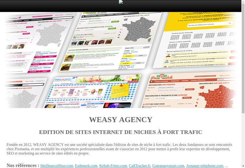 Capture d'écran du site de Weasy Agency