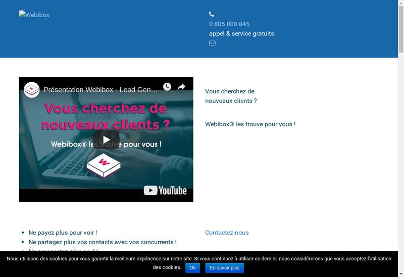 Capture d'écran du site de Webibox