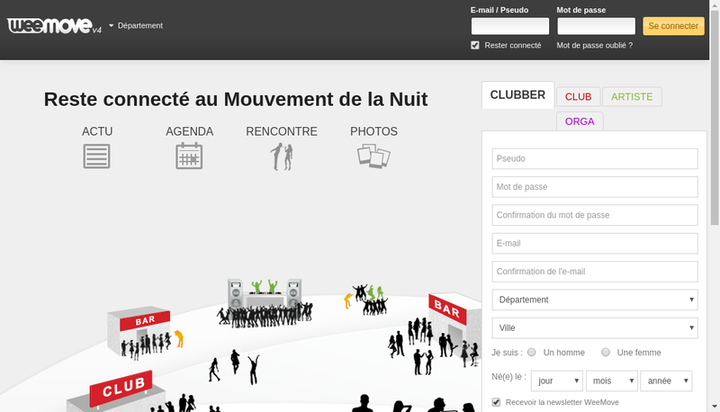 Capture d'écran du site de Weemove