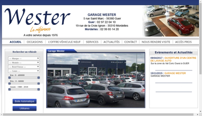 Capture d'écran du site de Wester Automobiles