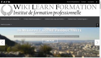 Capture d'écran du site de wiki learn formation