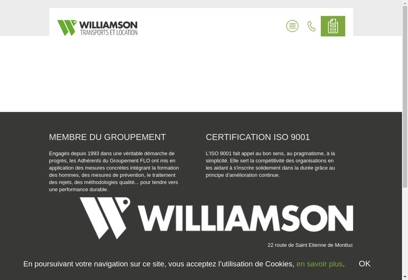 Capture d'écran du site de Williamson Transports