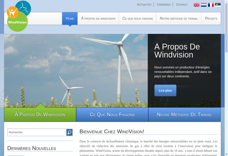 Capture d'écran du site de Windvision France