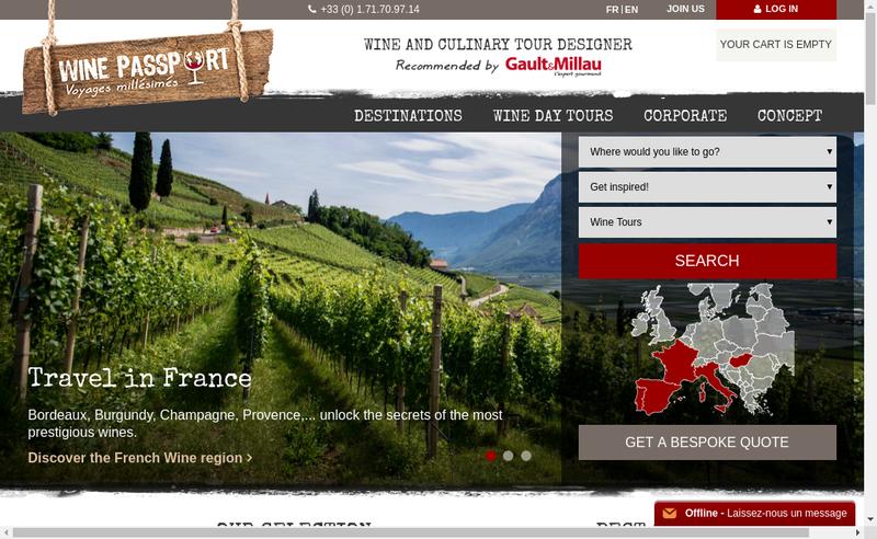 Capture d'écran du site de Wine Passport