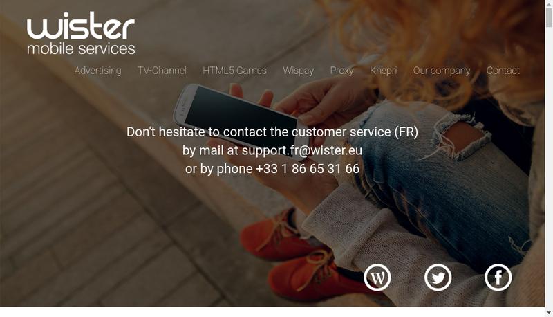 Capture d'écran du site de Wister