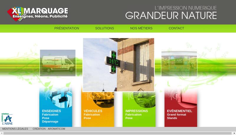 Capture d'écran du site de Xl Marquage