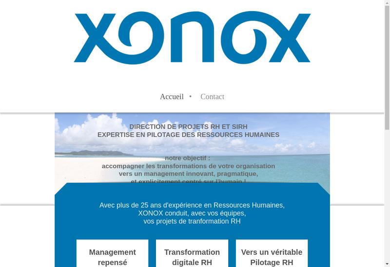 Capture d'écran du site de Xonox