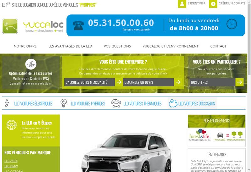Capture d'écran du site de Yuccaloc