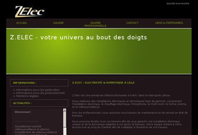 Capture d'écran du site de Z Elec