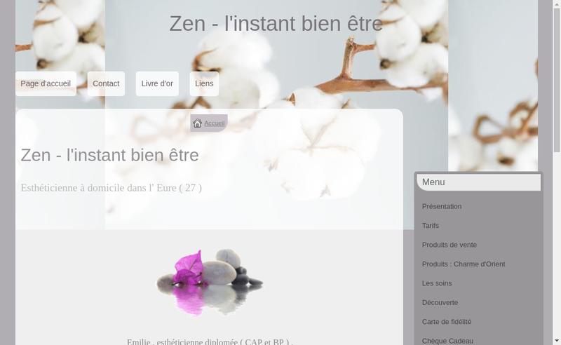 Capture d'écran du site de Zen l'Instant Bien Etre