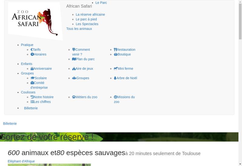 Capture d'écran du site de Parc Zoologique de Plaisance du Touch