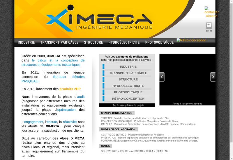 Capture d'écran du site de Ximeca
