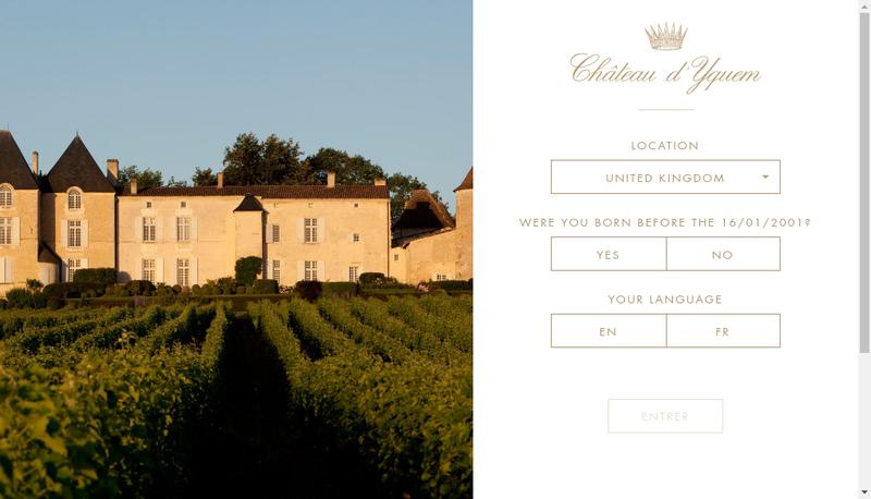 Capture d'écran du site de SA du Chateau d'Yquem