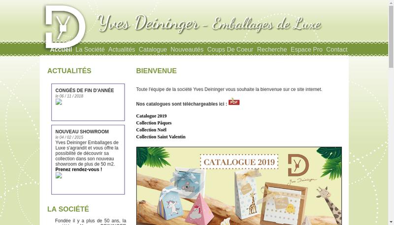 Capture d'écran du site de Yves Deininger Emballages de Luxe