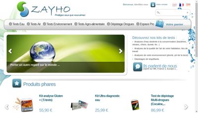 Capture d'écran du site de Zayho