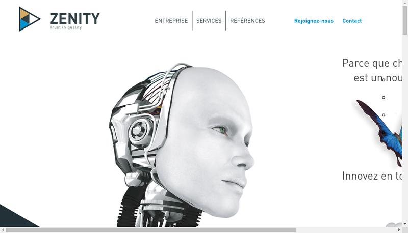 Capture d'écran du site de Zenity
