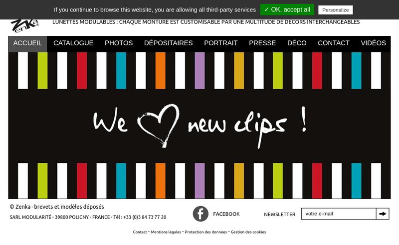 Capture d'écran du site de Themata Design et Zenka Diffusion