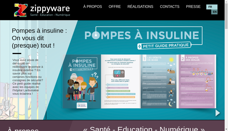 Capture d'écran du site de Zippyware